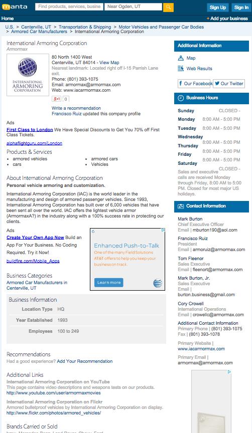 Armoring Company Listing on Manta.com