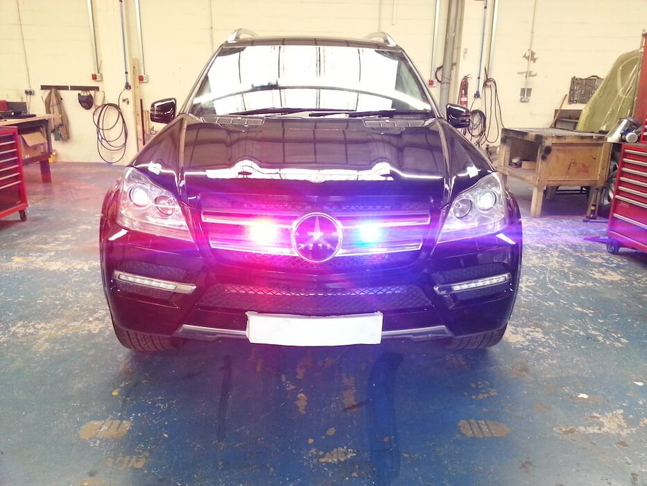 Strobe Lights Armored GL 550 Mercedes SUV