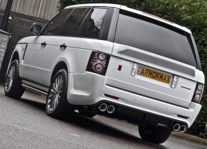 back view of armored range rover