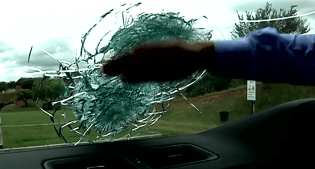 Shooting at Ballistic Glass and Feel the Inside No Penetration
