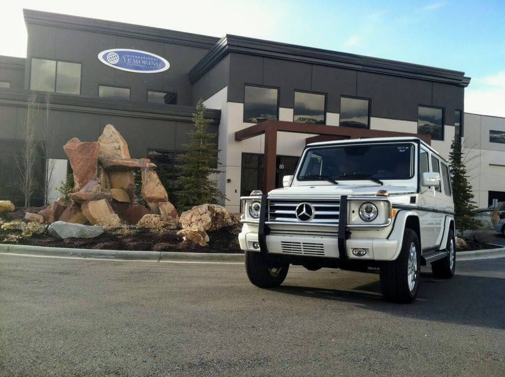 End Product Bulletproof White Mercedes G Wagon Vehicle Armoring Kits