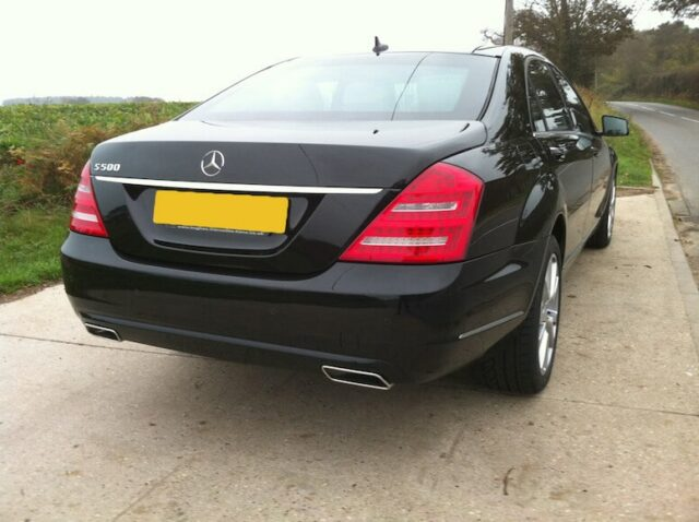 rear view of a Bulletproof Mercedes-Benz S500 Series