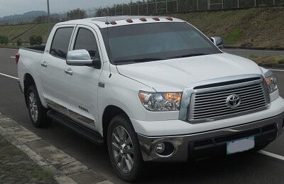 front view of an armored toyota tundra