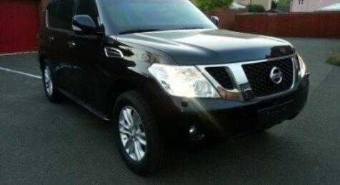 Bulletproof black Nissan Patrol front view