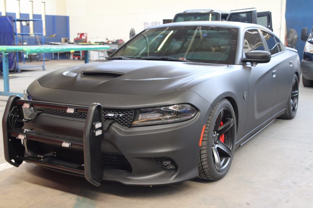 bulletproof dodge hellcat with police lights by armormax