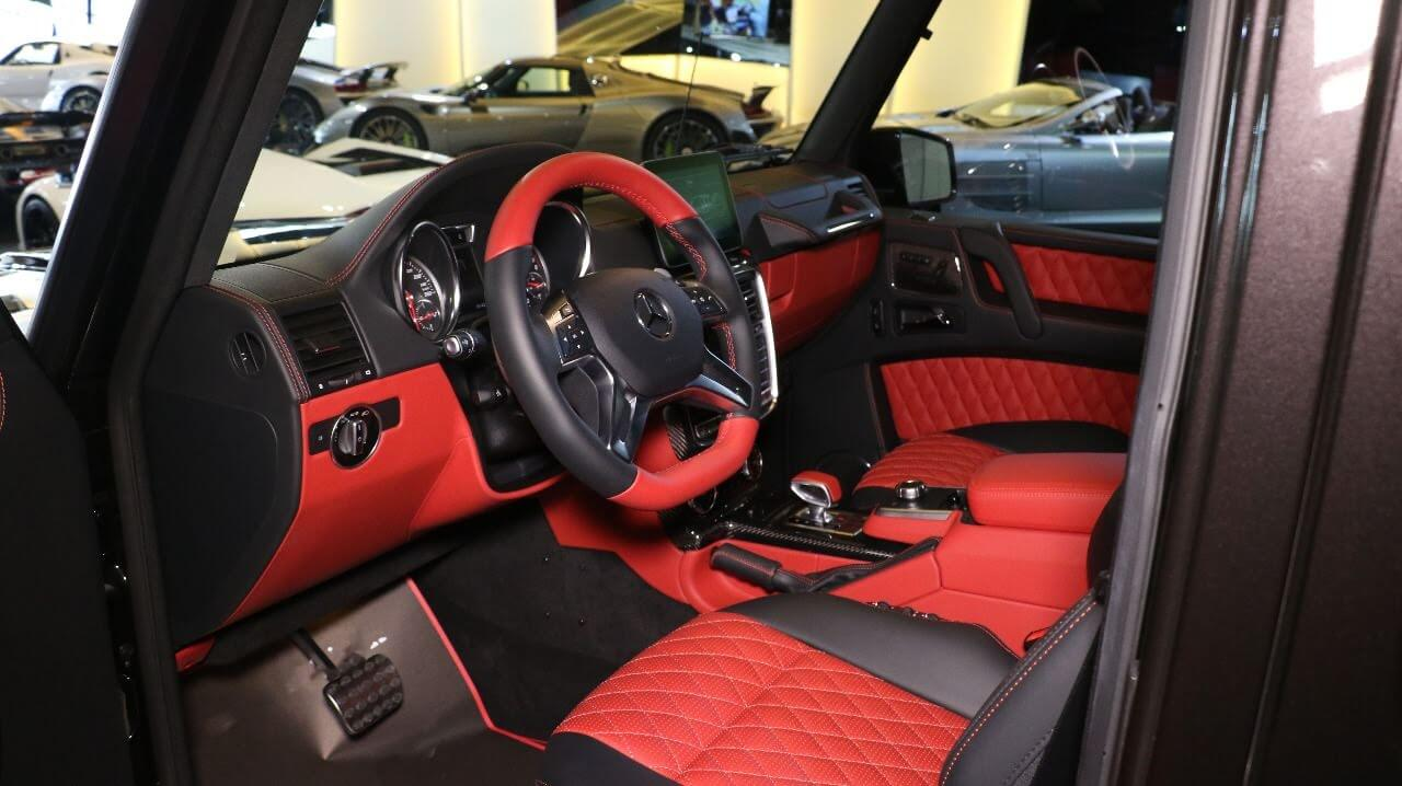 Red seats in a bulletproof car