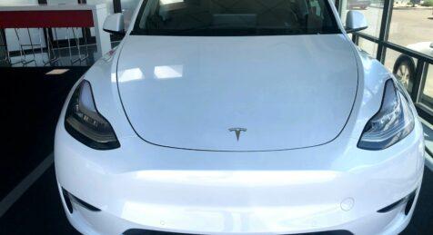 Armored 2020-Tesla-Model-Y-Dual-Motor-Armormax-Bulletproof-SUV-Front View Utah