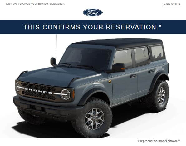 Confirmed Reservation for Mark Armormax Ford Bronco