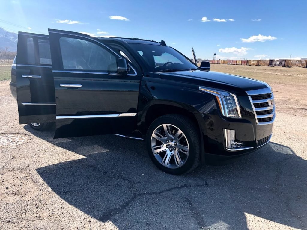 Armored Escalade Doors Open Ready to Drive